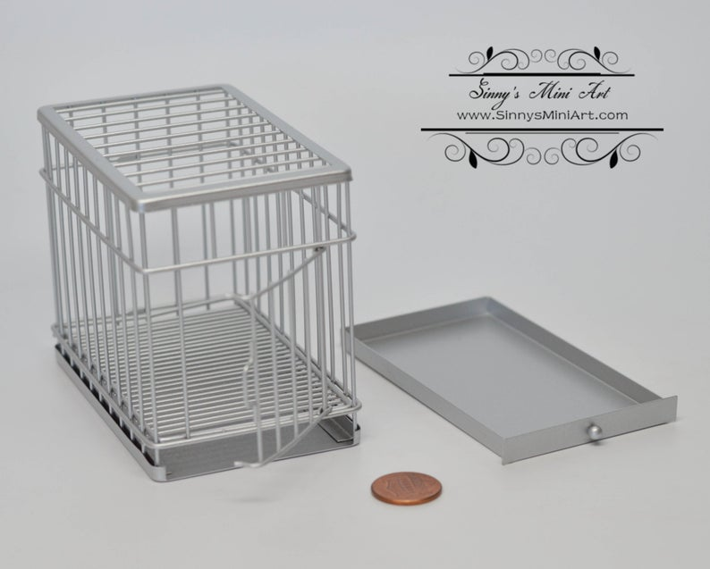 1:12 Dollhouse Miniature Large Dog Cage ( Sliver) AZ EIWF308
