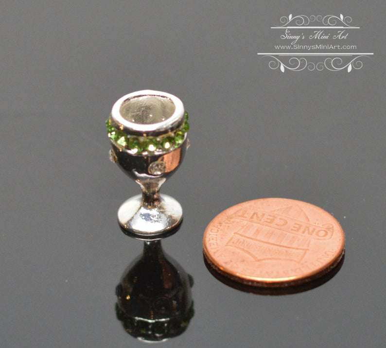 1:12 Dollhouse Miniature Silver Chalice Emerald Band BD J056