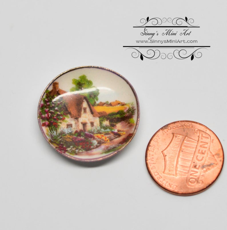 1:12 Dollhouse Miniature Cottage Dish/Ceramic Decorative 1 inch Plate BB CDD52