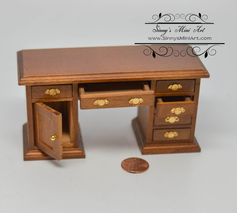1:12 Dollhouse Miniature Walnut Library Desk / Miniature Furniture AZ CL10118