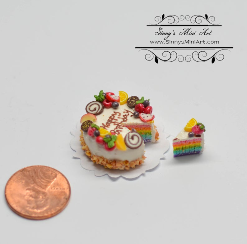 1:12 Dollhouse Miniature Happy Birthday Rainbow Cake BD K2229