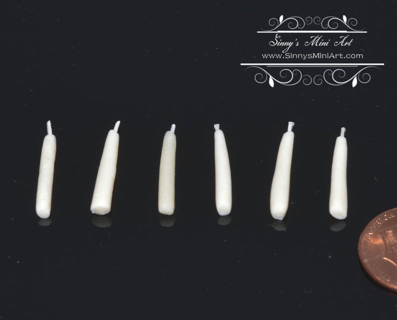 1:12 Dollhouse Miniature Tapered Candles- Set of 6 BD H075
