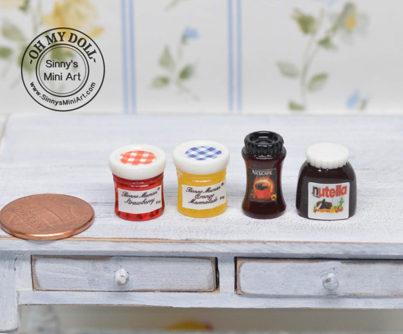 1:12 Dollhouse Miniature A Set of Jars/Miniature Peanut Butter D96