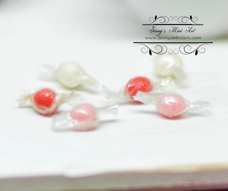 6 PC 1:12 Dollhouse Miniature Wrapped Gumballs /Miniature Candy/Miniature Valentine's Day BD K2730