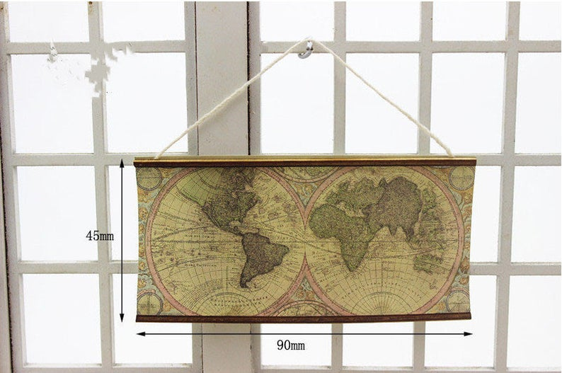 1:12 Dollhouse Miniature Ancient Map Banner Doll Map C90