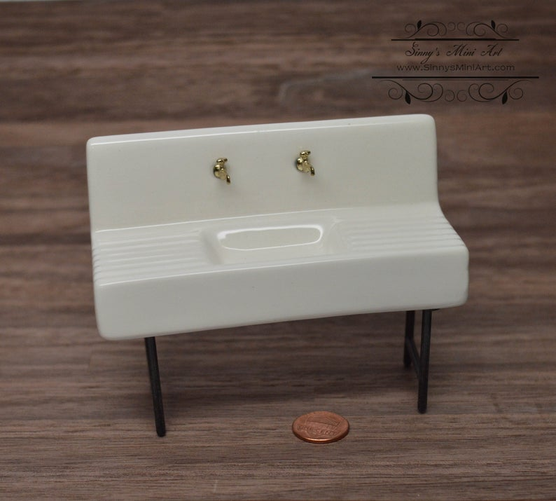 "1:12 Dollhouse Miniature 1920""s Porcelain Sink/ Miniature Furniture AZ D6268"