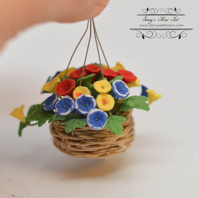 1:12 Dollhouse Miniature Assorted Flowers in Hanging Basket BD A086