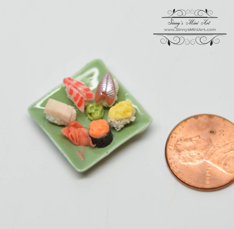 1:12 Dollhouse Miniature Sushi Assortment on Square Green Plate BD F220