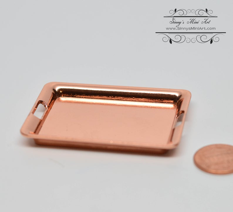 1:6 Dollhouse Miniature Metal Serving Tray Copper/ Barbie Tray D57