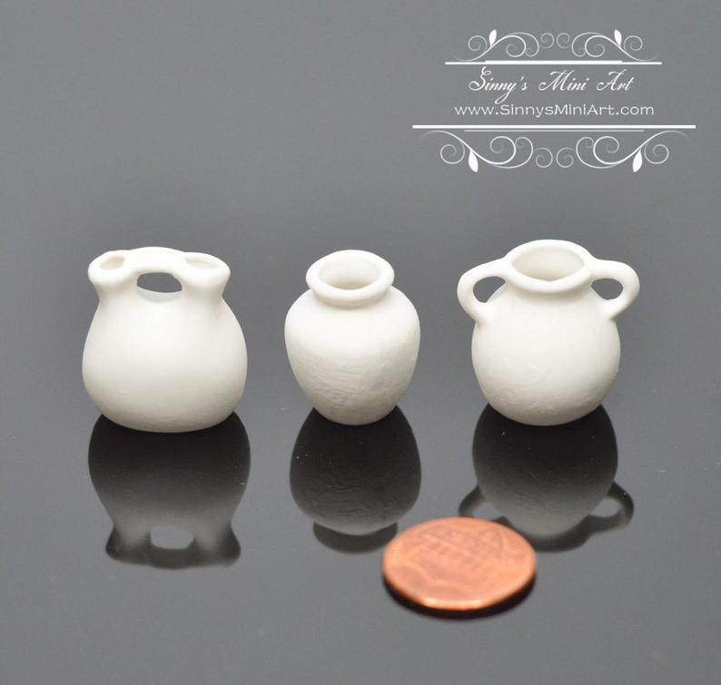 3 PC 1:12 Dollhouse Miniature Unfinished White Vase BD 310