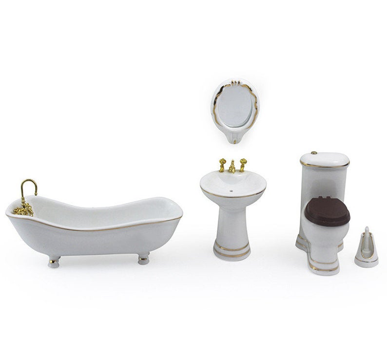 1:12 Dollhouse Miniature Ceramic Bathroom Set/ Doll Toilet / Miniature Tub E4-1