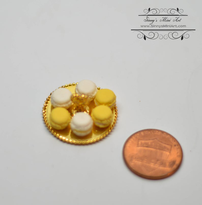 1:12 Dollhouse Miniature Macarons on Gold Tray/Miniature Food BD K2756