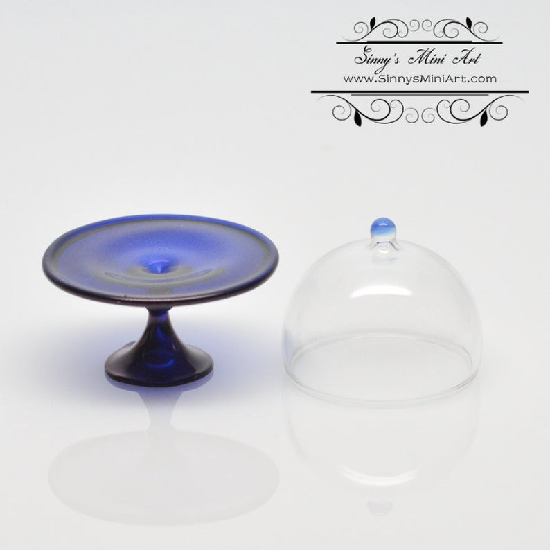 1:12 Miniature Blue Glass Cake Plate with Round Top BD HB251