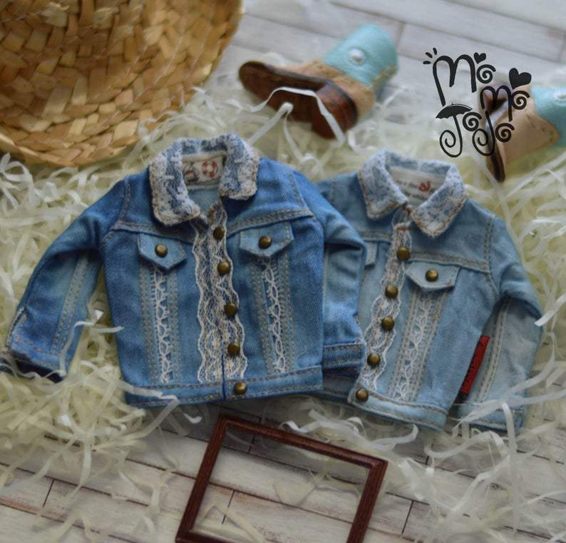 Last one!Double-Stitch Line Lace Denim Jacket for Blythe A66 A67