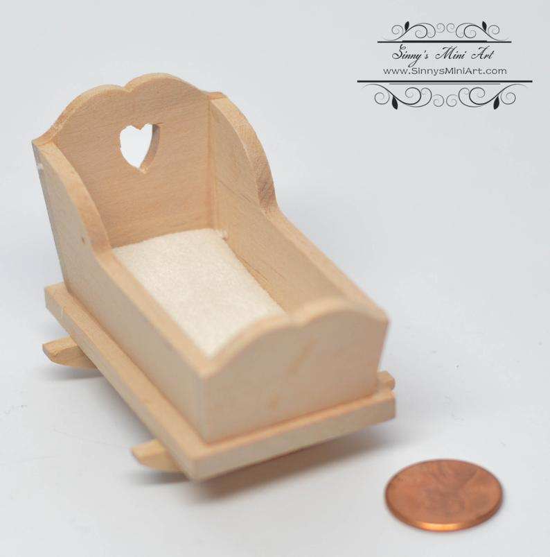 1:12 Dollhouse Miniature Unfinished Cradle AZ CL08665