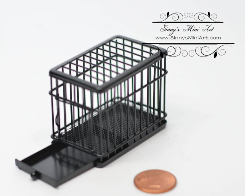 1:12 Dollhouse Miniature Dog Cage Black (tiny) AZ EIWF464