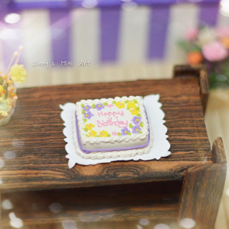 Discontinued 1:12 Dollhouse Miniature Floral Happy Birthday Sheet Cake BD K2305