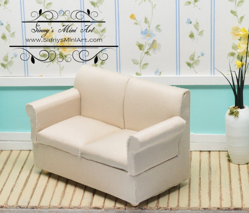 1:12 Dollhouse Miniature Loveseat, White Fabric AZ CL10910