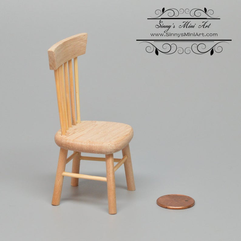 1:12 Dollhouse Miniature Side Chair, Unfinished Miniature Chair AZ CL08652