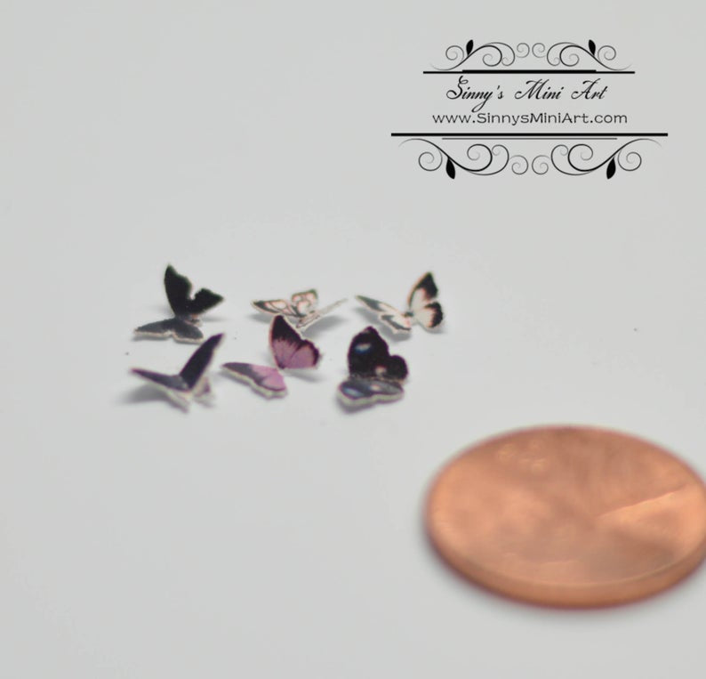 1:12 Dollhouse Miniature set of 6 Black Butterflies BD MW013