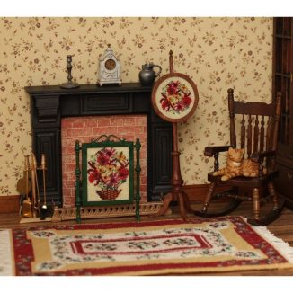 1:12 Dollhouse Miniature Autumn Harvest Needlepoint Pole Screen Kit JGD 2901