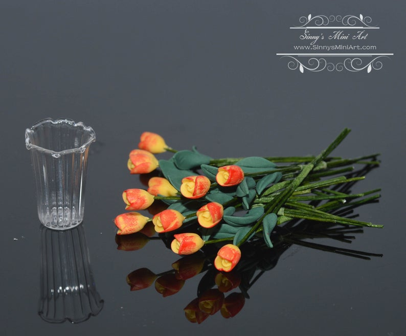 1:12 Dollhouse Miniature 12 Yellow/Orange Tulips in Vase BD R551
