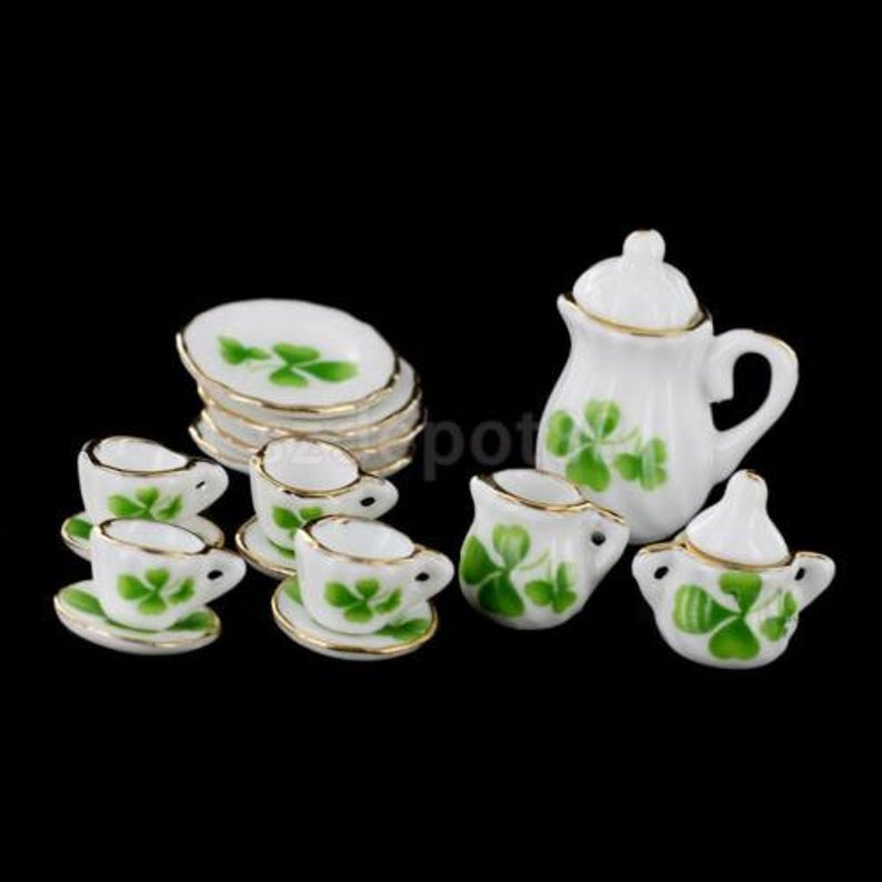 A set (15 pc) of 1:12 Dollhouse Miniature Tea Set/ Miniature plates B35-5