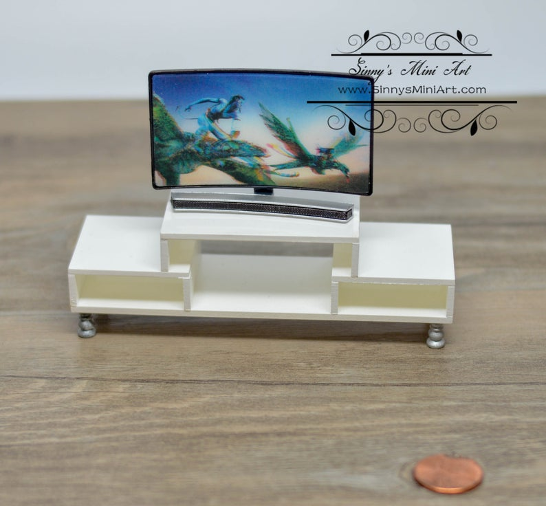 1:12 Dollhouse Miniature Curved TV and Console AZ G7525