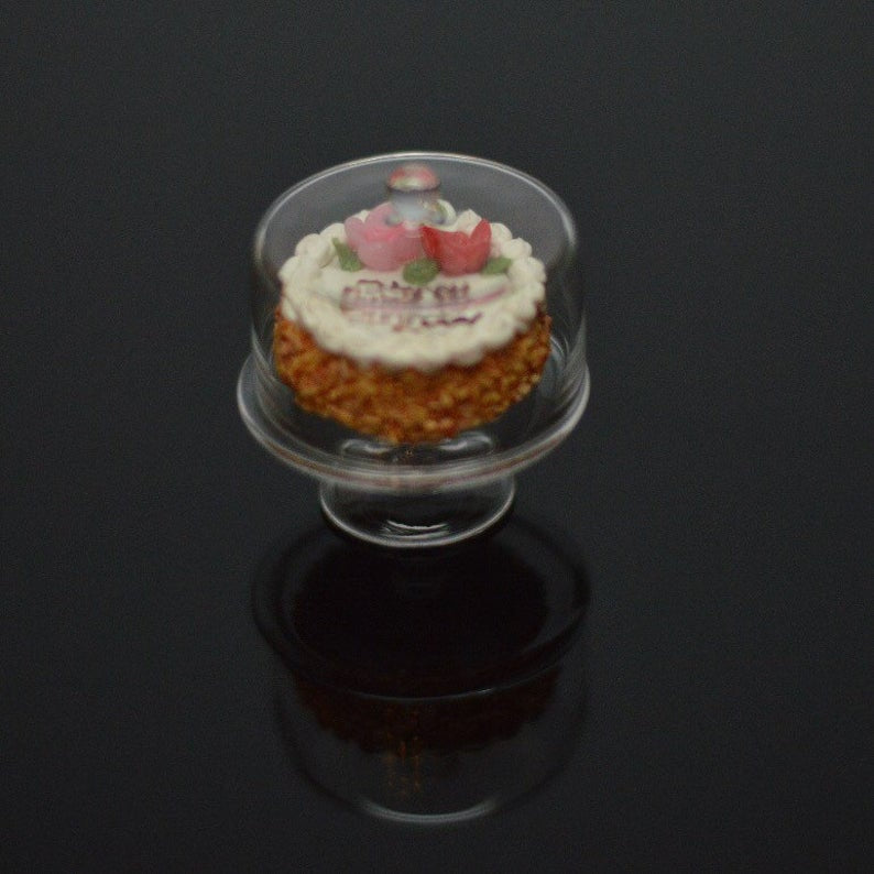 1:12 Miniature Glass Cake Plate with Cover BD HB202