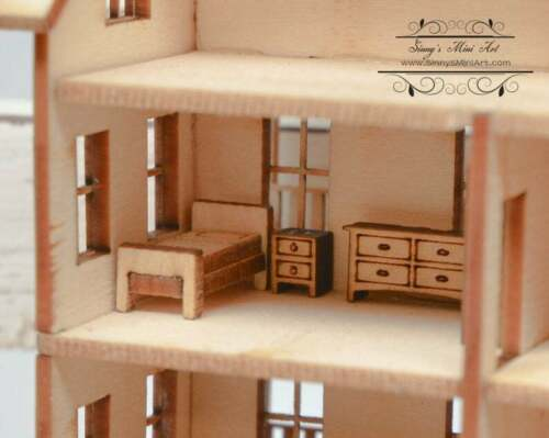 1:144 Scale Dollhouse Miniature Furniture Kit Traditional Living Room 0002308