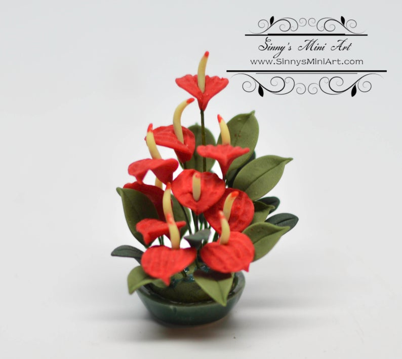1:12 Dollhouse Miniature Red Anthurium in Planter BD A1090