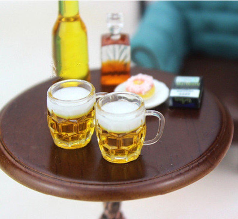 2 PC 1:12 Dollhouse Miniature Cup Beer D125