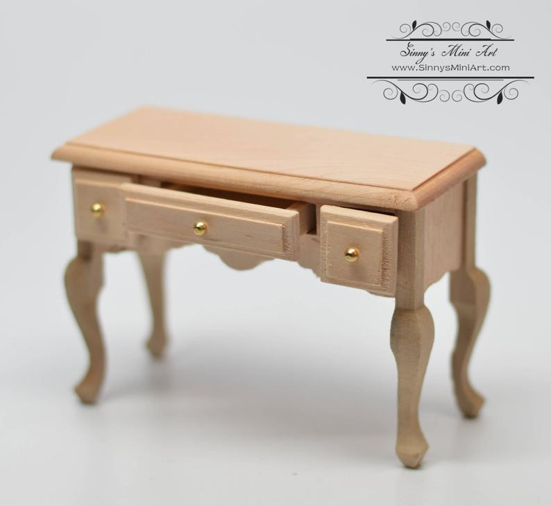 1:12 Dollhouse Miniature Unpainted 3-Drawer Table AZ CL08655