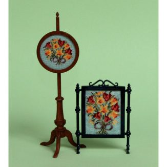 1:12 Dollhouse Miniature Spring Flowers Needlepoint Firescreen Kit JGD 1018