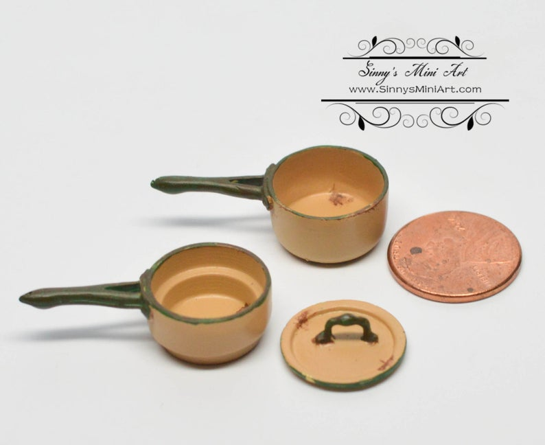 1:12 Dollhouse Miniature Medium Double Boiler/ Gold/Miniature Shabby Casserole/Miniature Pot AZ AN1362GD
