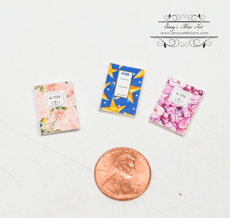 1:12 Dollhouse Miniature Notebook Blue with Stars DMUK O52