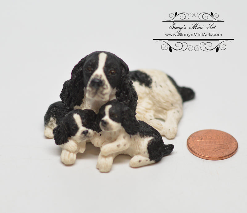 1:12 Dollhouse Miniature English Springer with Puppies Dog Pet HH A3406BK