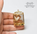 1: 12 Dollhouse Miniature Brass Bird Cage with Bird/Miniature Pet AZ D4751B