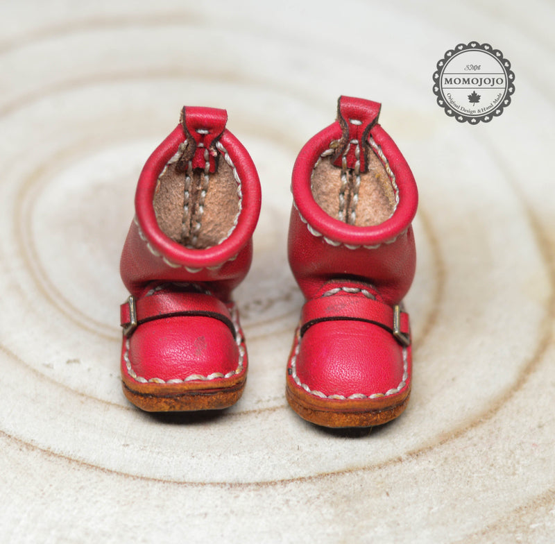 Hand Made Leather Boot (Bright Red) / Shoes for Blythe/ Azone/ Licca/Pullips