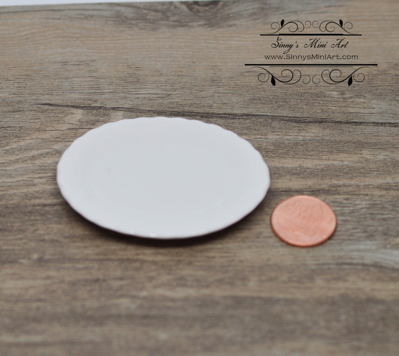 1:12 Miniature Ceramic Oval White Platter B85-1