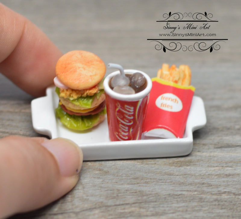 1:12 Dollhouse Miniature Hamburger Fries Soda Combo in Dish HMN 1574