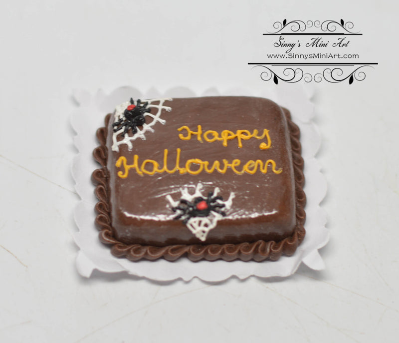 1:12 Dollhouse Miniature Happy Halloween Cobweb Sheet Cake BD K2310