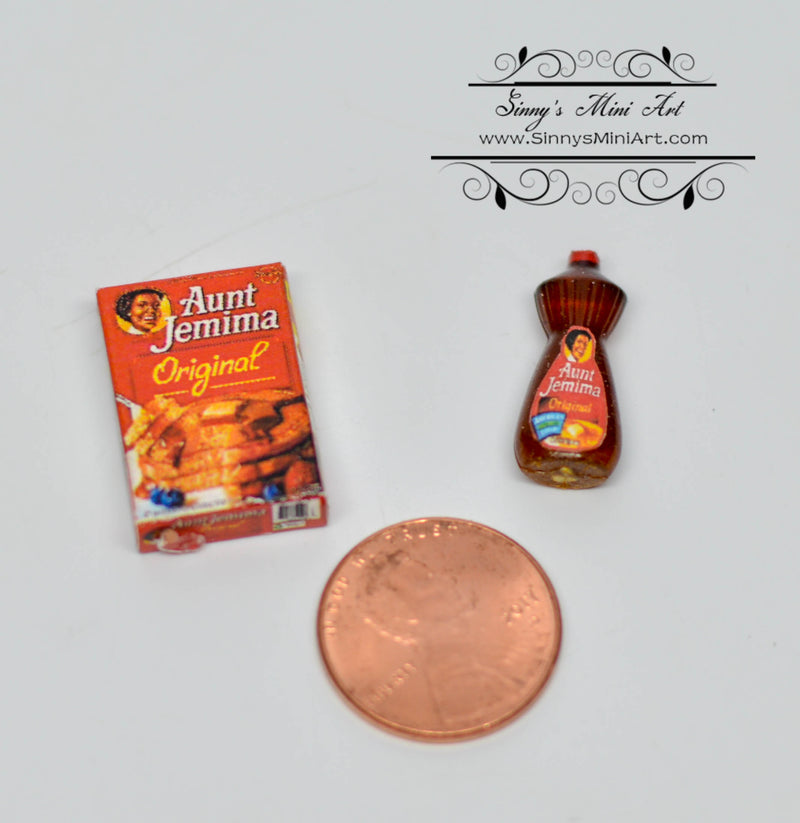1:12 Dollhouse Miniature Aunt Jemima Pancake Set / Miniature Breakfast 54337