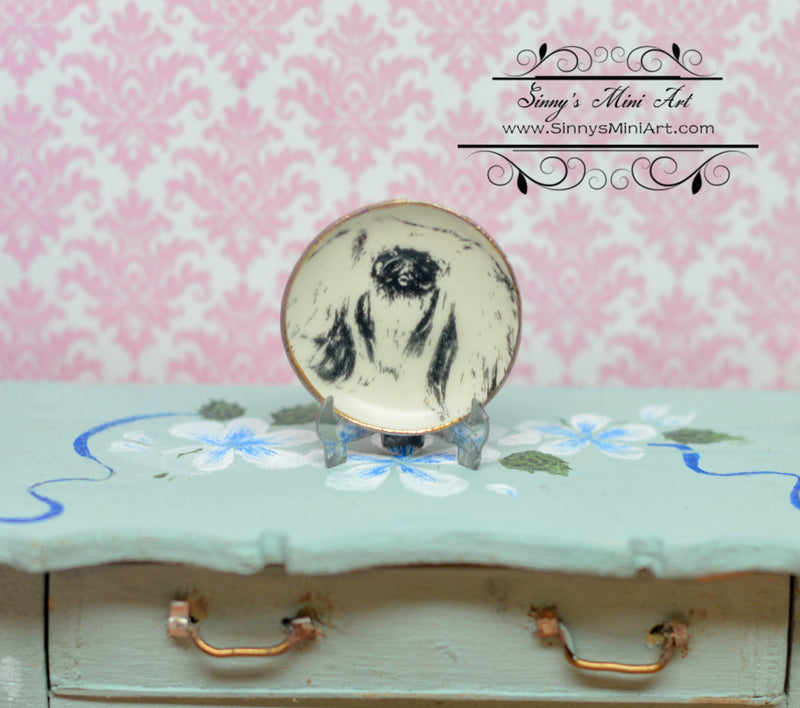 1:12 Dollhouse Miniature Pekingese Dog Decorative Plate BB CDD265-4