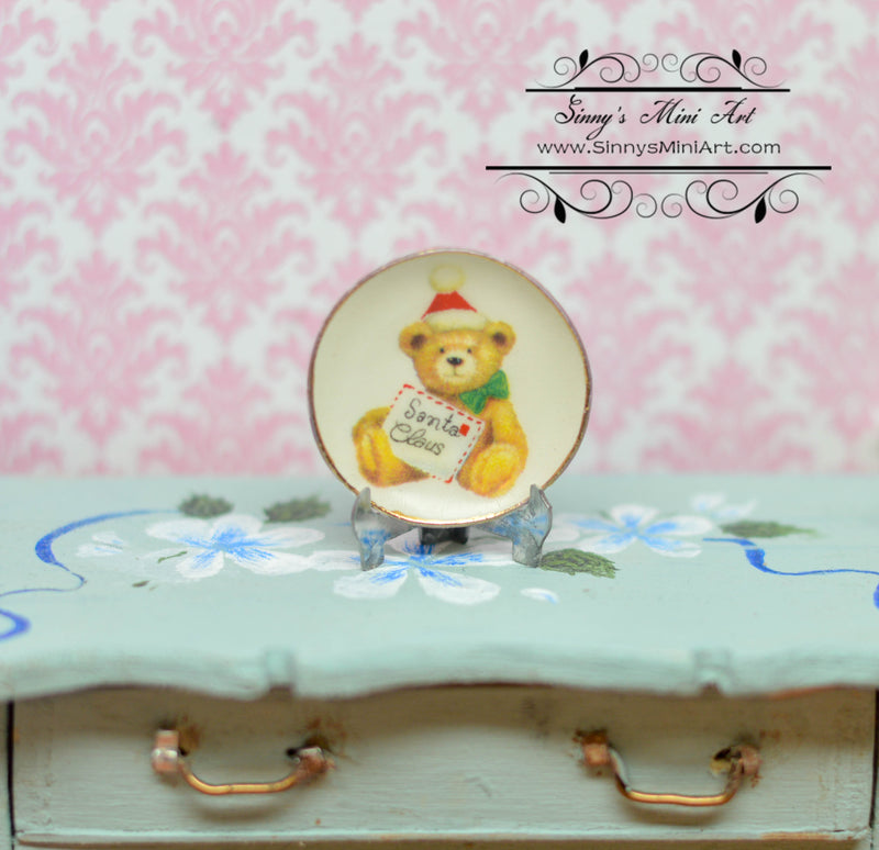 1:12 Dollhouse Miniature Christmas Bear Decorative Plate BB CDD467-3
