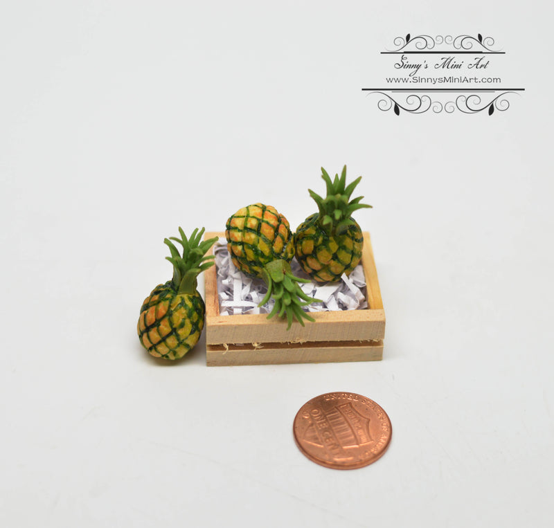 1:12 Dollhouse Miniature Pineapples in Box/ Miniature Pineapples/ Miniature Fruit HMN 1541