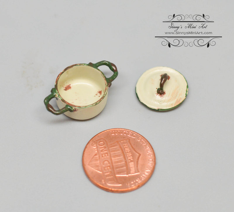 1:12 Dollhouse Miniature Medium Shabby Casserole/Beige Miniature Cookware Miniature Pot AZ AN1350BG