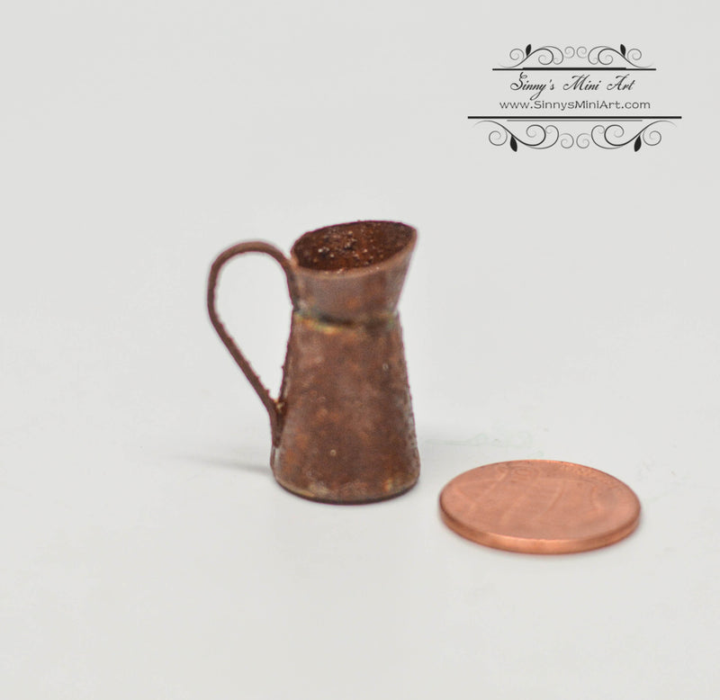 1: 12 Dollhouse Miniature Small Rust Pitcher/ Miniature Garden AZ EIWF583