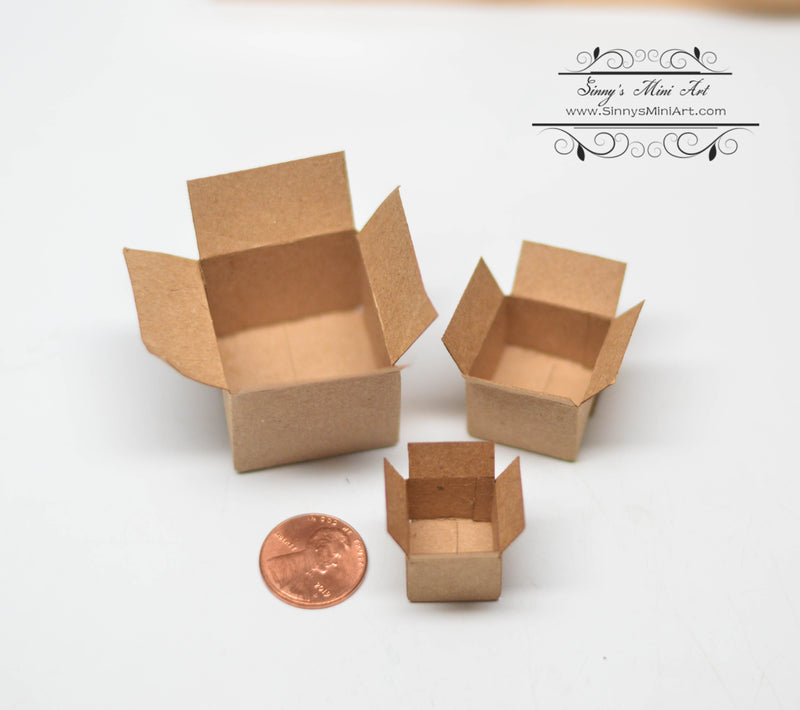 1:12 Dollhouse Miniature Brown Packing Boxs Set HRM 56015