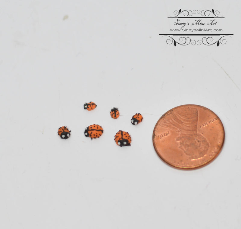 1:12 Dollhouse Miniature Ladybugs, Set of 6, Assorted Sizes BD MF020